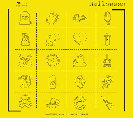 Collection of 20 halloween icons. Vector illustration in thin line style Illustration