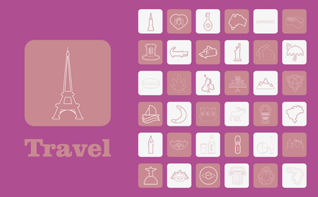 Travel Line Icons for Web and Mobile. Thin line icons. on purple Vettoriali
