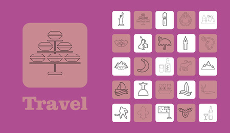 Travel Line Icons for Web and Mobile. Thin line icons. on purple Ilustrace