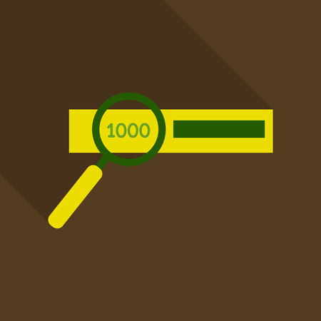 Checking the authenticity of money - vector icon. one thousand bill