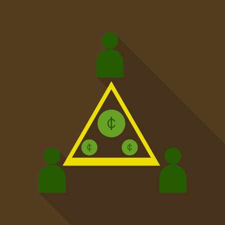 Flat isometric businessman on top of coin pyramid. People bring and give coins to the business vector illustration. Financial Pyramid