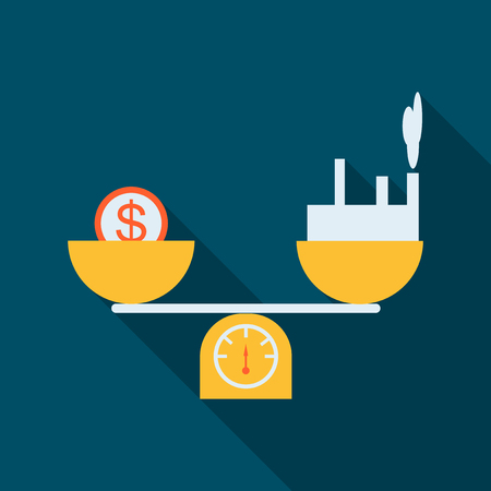 Scales with currency and factory, Flat design, Libra, vector illustration isolated on white background