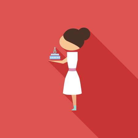 Vector illustration cartoon mother with present cake. Isolated white background. Flat design. The woman and cake on 8 march