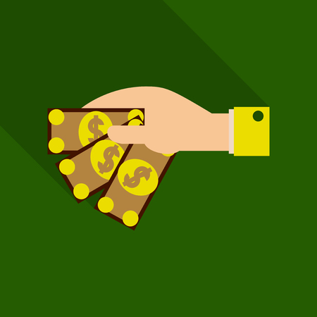 Businessman hand giving give money, making agreement, success in deal. Flat design illustration with shadow.