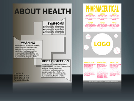 collection of 2 abstract medical business cards or visiting cards on different topic, arrange in horizontal. Illustration