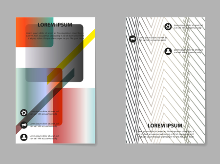 Abstract vector business template set. Brochure layout, modern cover design, poster, geometric shapes lines with texture background. Vectores
