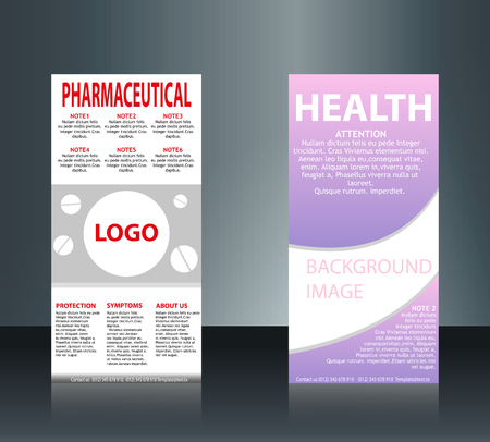 collection of 2 abstract medical business cards or visiting cards on different topic, arrange in horizontal. Vettoriali