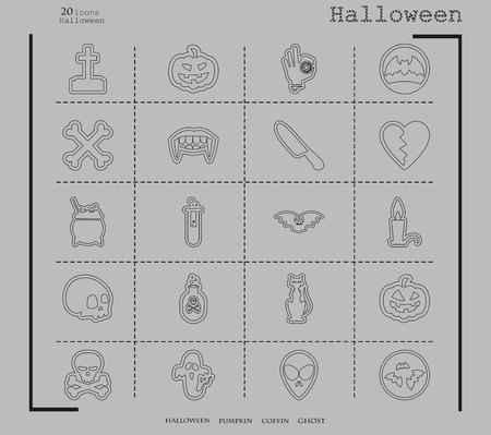 Collection of 20 Halloween icons vector illustration in thin line style.