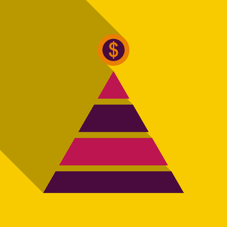 Flat top of coin pyramid. System bring and give coins to the business vector illustration. Financial Pyramid
