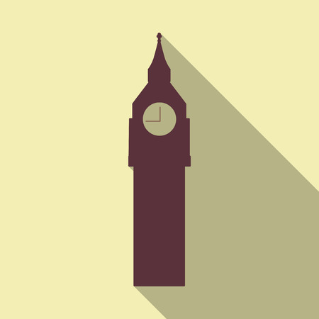 big ban clock icon. sign design in flat style with long shadow Ilustração