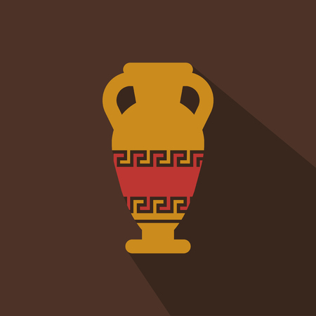 Illustration of Amphora from Greece in flat style with shadow