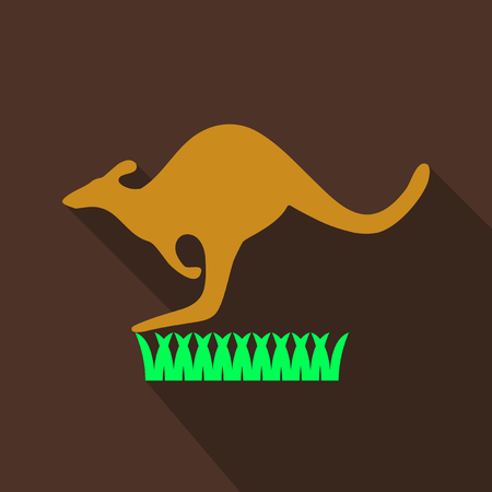 Kangaroo is running on grass. Vector in flat style with shadow