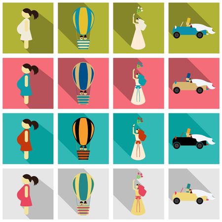 Set of weddings icons in flat style with shadow Çizim