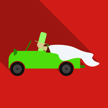 Newlywed couple is driving a vintage convertible car for their honeymoon with just married sign and cans attached. Illustration