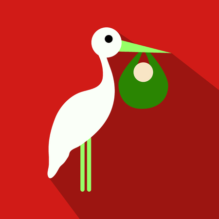 A stork cartoon in flat style with shadow with baby