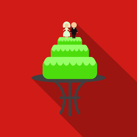 A wedding cake icon image with silhouette of newlyweds