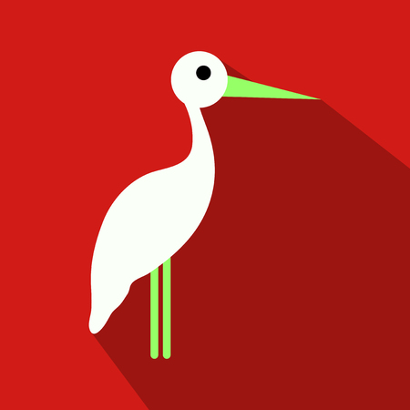 stork cartoon in flat style with shadow