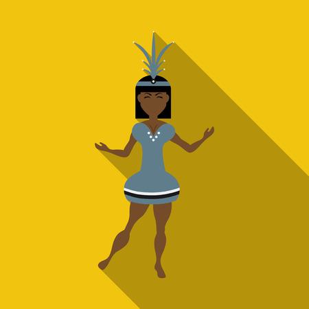 Brazilian samba dancers. Vector carnival girls wearing a festival costume is dancing. Çizim