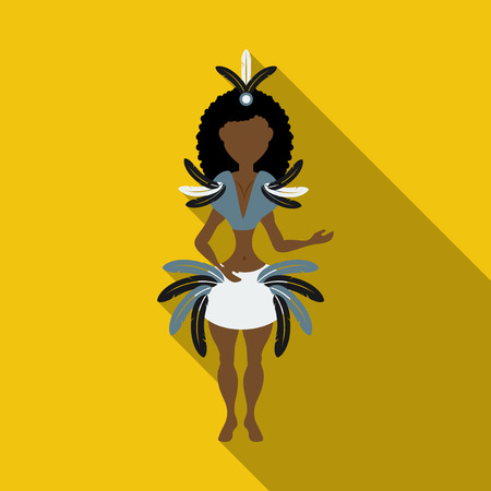 Brazilian samba dancers. Vector carnival girls wearing a festival costume is dancing. Illustration