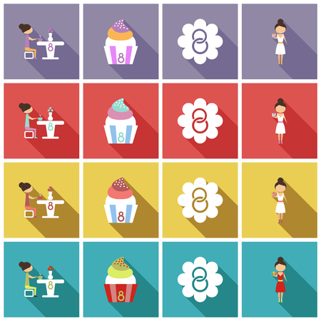 vector illustration set of badges labels on the topic 8 March International Womens Day