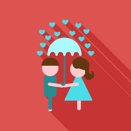Young Couple in love under umbrella on hearts decorated background, Vector for Happy Valentines Day celebration.
