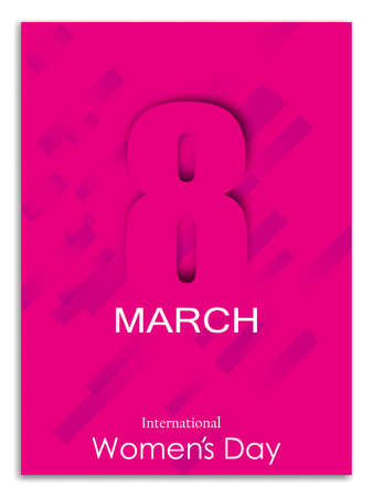 8 March greeting card template on pink background. International Womens day brochure, poster, flyer or invitation. Vector illustration.