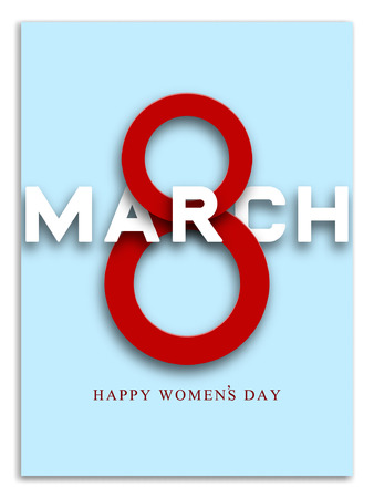 8 March greeting card template. International Womens day brochure, poster or invitation. Vector illustration. Stock Illustratie