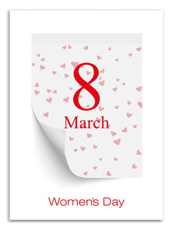 Women day calendar, 8th of march on paper.