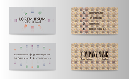 Business card set with abstract pattern.
