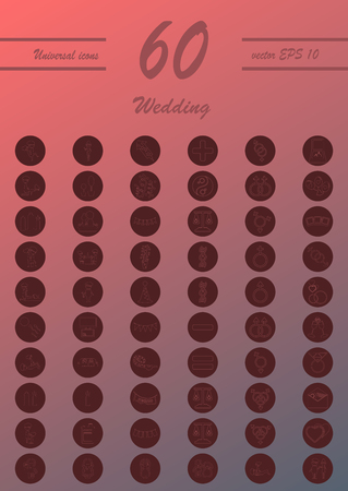 Set of wedding icons in modern thin line style. High quality outline celebration symbols for web site design and mobile apps. Simple wedding pictograms on background.