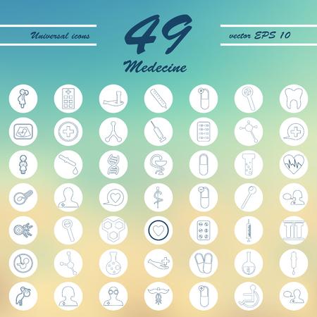 Medicine and Health care thin icons set illustration Illustration