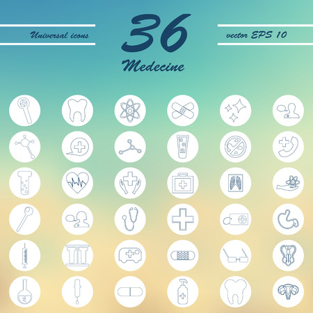 Medicine and Health care thin icons set Illustration