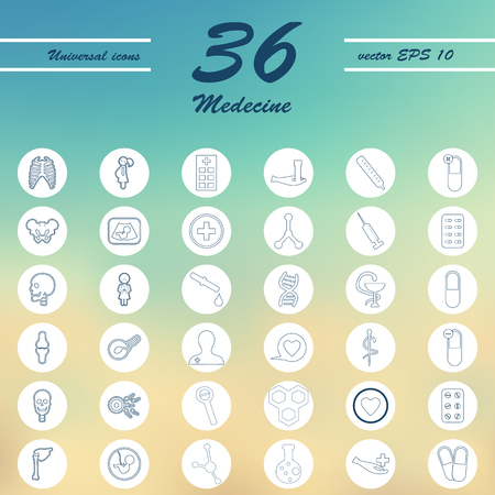Medicine and Health care thin icons set design