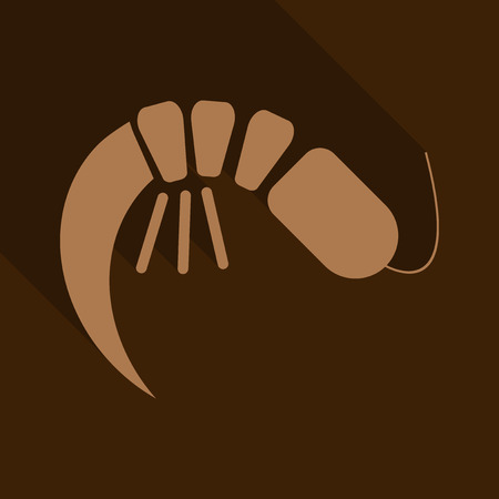One Cooked Shrimp Without Shell Primitive Cartoon Icon