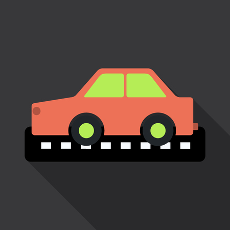 Taxi car top view icon. taxicab sedan with checker top light box on roof flat style vector illustration isolated on background. For taxi service app, transport company ad, infographics