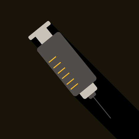 vector colored flat design medical plastic syringe with iron needle illustration isolated background long shadow