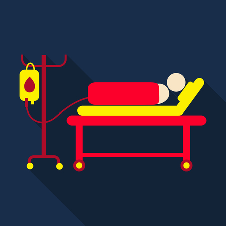 human lying in bed at hospital ward. Patient with equipment for blood transfusion . Vector flat design illustration. Horizontal layout.
