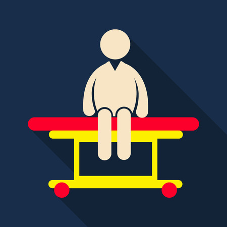 man is sitting on a medical couch isolated vector illustration