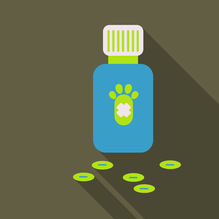 Pet drugs, vitamins. Outline vector illustration isolated on background for advertising banners, flyers, posters and other items.