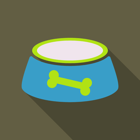 Pet dog bowl flat icon with long shadow,
