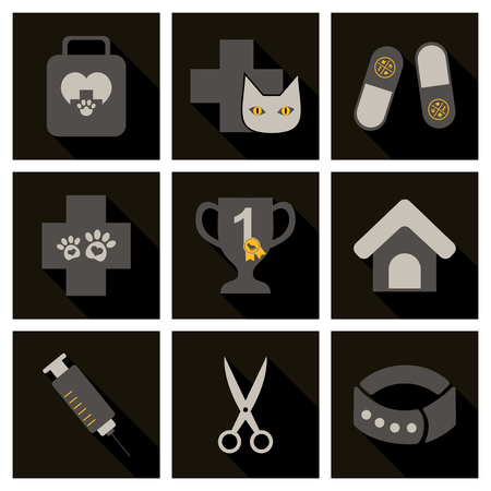 Set of flat icons veterinary science