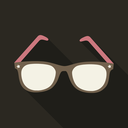 Sunglasses icon with long shadow. Flat design style.