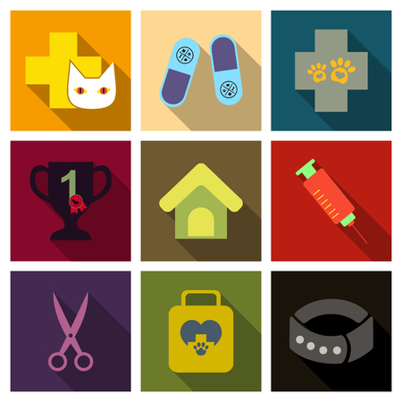 Set of flat icons with crosses, a trophy, trophy and a house.