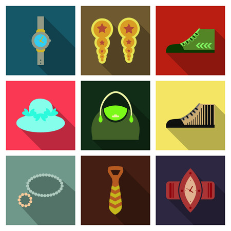 Set with icons on theme of shopping and clothes . Vector illustration.