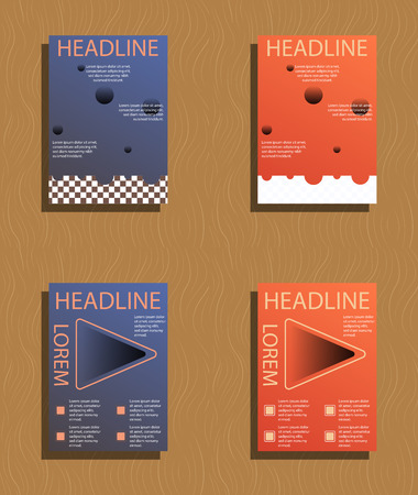 Set of brochures and abstract flyer design template background. Vectores