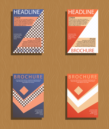 Set of brochures and abstract flyer design template background. Illustration