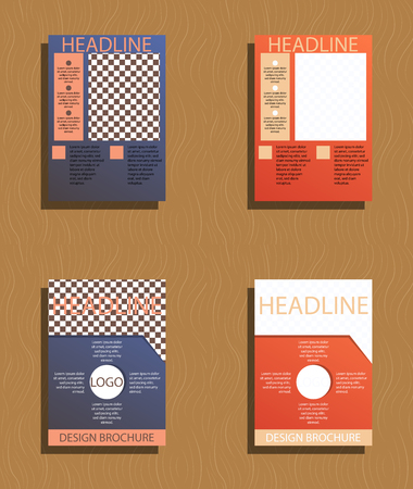 Set of brochures and abstract flyer design template background. Stock Illustratie