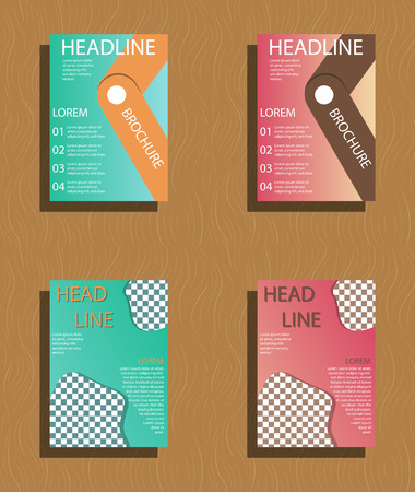 Set of abstract brochure flyer design layout template.