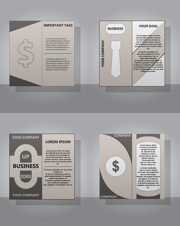 Set of abstract business brochure cover template.
