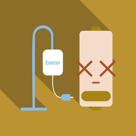 Discharged battery, charging concept illustration. Ilustração
